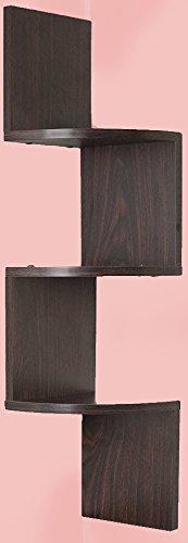 Adorn Home Essentials  Corner Zig Zag Wall Mount Shelves  3-Tier, Walnut Finish