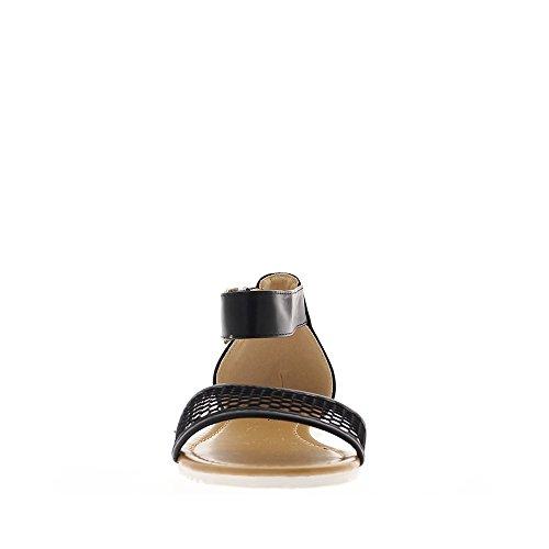 Sandales noires plates avec larges brides et bande dentelle