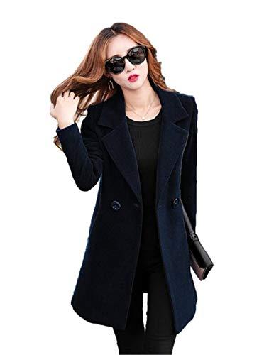 Beltnossnk Women's Woolen Jacket Temperament Medium Long Solid Long Sleeve Slim Outerwear Female Wool Coat Black M