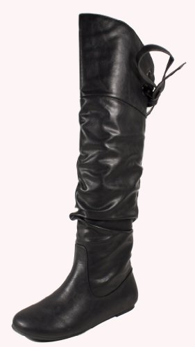 Womens Flat Pirate Boots (Letta! By Soda Sexy Fashion Pirate Inspired Slouchy Thigh-high Flat Boots with Lace-tie Back Design, black leatherette, 6 M)