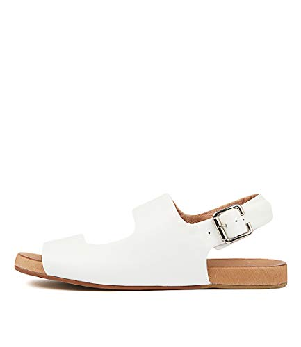SILENT D Alena White Womens Flat Sandals Summer Sandals White Leather