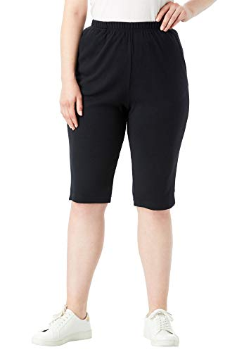 Roamans Women's Plus Size Soft Knit Bermuda Shorts - Black, 3X