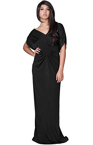 - KOH KOH Womens Long Short Sleeve Grecian Goddess Evening Modest Bridesmaid Formal Sexy Wedding Party Guest Flowy Cute Maternity Gown Gowns Maxi Dress Dresses, Black L 12-14