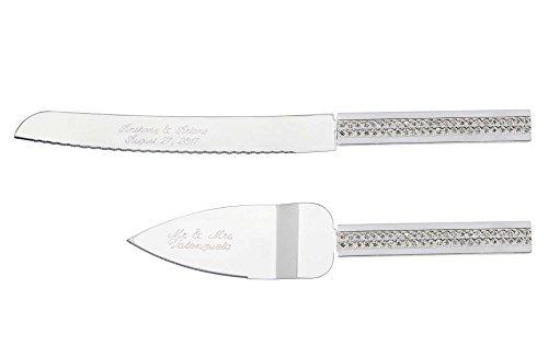Personalized Wedding Cake Knife & Server Set Engraved Custom Channel Sparkle CZ Handle