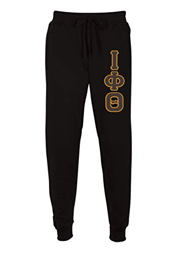 - Fashion Greek Iota Phi Theta Embroidered Twill Letter Joggers Black Large