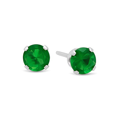 Brilliant Simulated Emerald Sterling Earrings