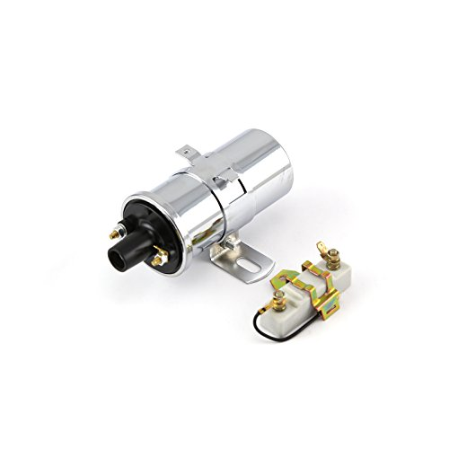 12V Electronic Round Oil Filled Female Round Canister Ignition Coil Chrome