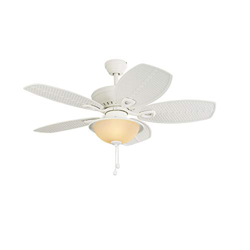 Harbor Breeze Cedar Shoals 44-in White Downrod or Close Mount Indoor/Outdoor Ceiling Fan with Light Kit