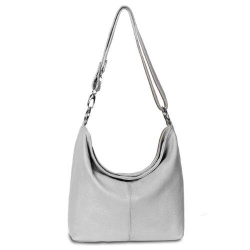CASPAR Damen Ledertasche / Schultertasche / Umhängetasche / Handtasche aus italienischem Leder, Farbe:hell grau