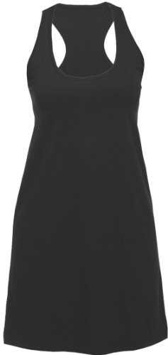 Solid Black Lounge Sleep Tank Long Shirt for Women, 2XL
