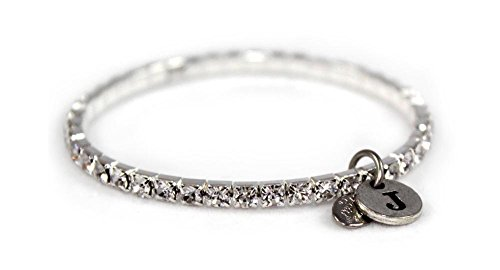 Weiss Crystal Stretch Initial Bracelet - One Size Fits All (J) by Albert Weiss