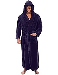 TIFENNY Mens Winter Long Sleeved Robe Coat Hooded Soft Plush Lengthened Shawl Bathrobe Home Clothes