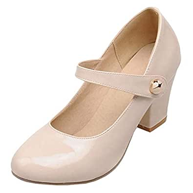 JOJONUNU Women Fashion Block Heel Party Pumps Shoes Mary Jane Velcro Beige Size 33 Asian