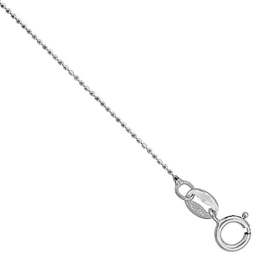 Faceted Bead Chain - Sterling Silver Faceted Baby Pallini Bead Ball Chain Necklace Very Thin 0.75mm Nickel Free. 18 inch