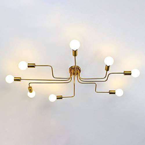 (NIUYAO Industrial Modern Semi Flush Mount Ceiling Light Chandelier Wrought Iron 8 Edison Lights Hanging Fixture Pendant Lighting for Kitchen Hallway Living Room Hotel Cafe Bar Gold Finished)