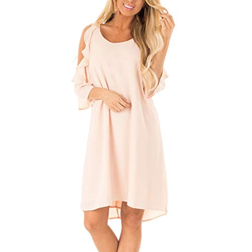 - WILLBE Ladies Petal Sleeve Dress Fashion Womens Dress Strapless Shoulder Dress Ruffle Sleeve Pure Color Summer Dress Pink