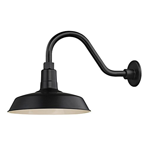 Aluminum Lighting Gooseneck - Black Farmhouse Style Industrial Gooseneck Outdoor Barn Light with 12