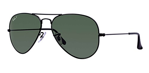 Ray Ban RB3025 Aviator Sunglasses Unisex (55 mm Frame Black Polarized Solid Lens, 55 mm Frame Black Polarized Solid - Ray Bans Black Aviator