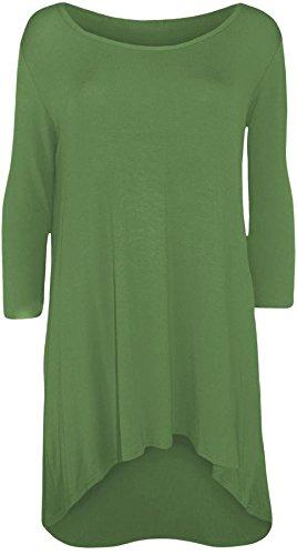 New Womens Plus Size Uneven Dip Hem Long Tunic Tops, Khaki, EU 44