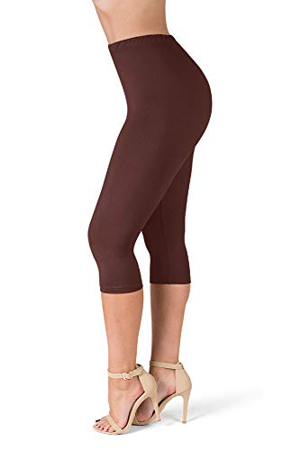 SATINA High Waisted Ultra Soft Capris Leggings - 20 Colors - Reg & Plus Size (One Size, Brown)