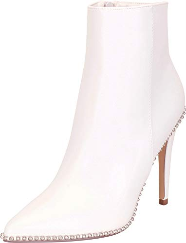 (Cambridge Select Women's Pointed Toe Studded High Heel Ankle Bootie,7.5 B(M) US,White PU)