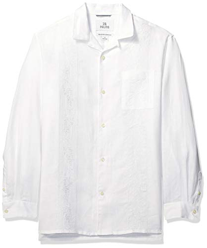 28 Palms Men's Relaxed-Fit Long-Sleeve 100% Linen Embroidered Guayabera Shirt, White, Large