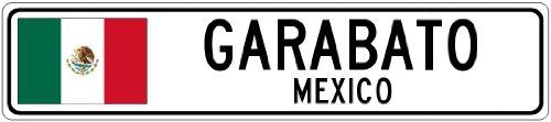 GARABATO, MEXICO - Mexico Flag Aluminum City Sign - 4 x 18 Inches