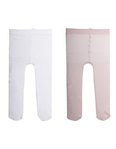 2 Pairs - Baby Girl Plain Microfibre Semi Opaque Pantyhose | Newborn Pantyhose | 40 Den | 3 To 24 Months | Italian Hosiery | (6 MONTHS, 1 PAIR WHITE + 1 PAIR PINK)