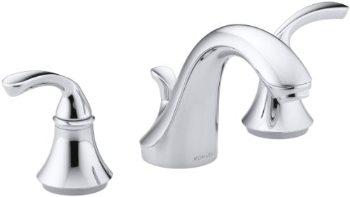 KOHLER K-10272-4-CP Forte Widespread Lavatory Faucet with Sculpted Lever Handles, Polished Chrome
