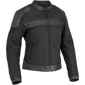 River Road Pecos Classic Womens Black Leather/Mesh Jacket - 2X-Large