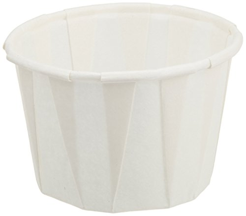 "Genpak 250 Piece F100 Capacity Pleated Paper Portion Cup, 1"" H, 1 oz, White"