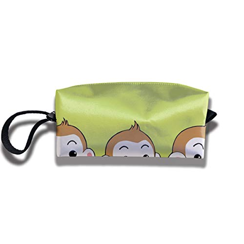 Cosmetic Bags With Zipper Makeup Bag Three Monkey Baby Middle Wallet Hangbag Wristlet -
