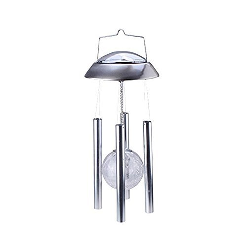 IMAGE Windlights Solar Powered Rotating LED Light Color Changing Glass Crackle Ball Wind Chime