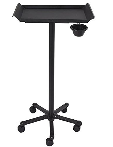 K&A Company Beauty Trolley Cart Salon Spa Service Tray New Black Steel 20.8'' x 20.8'' x 37.8'' 5 Wheels