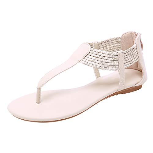 (Lovelychica Women Sandals Bohemian Roman Style Clip Toe Sandal Large Comfort Roman Beach Boho Shoes Apricot)