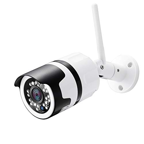 Outdoor Security Camera (with 64G SD Card), 1080p IP Cam 2.4G IP66 Waterproof Night Vision Surveillance System with Two-Way Audio, Motion Detection, Activity Alert, Deterrent Alarm – iOS, Android App