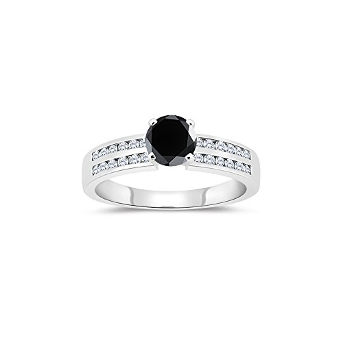 (1.48-1.87 Cts White & Round Black Diamond Engagement Ring with Channel Set Side-Stones in 14K White Gold-7.0)