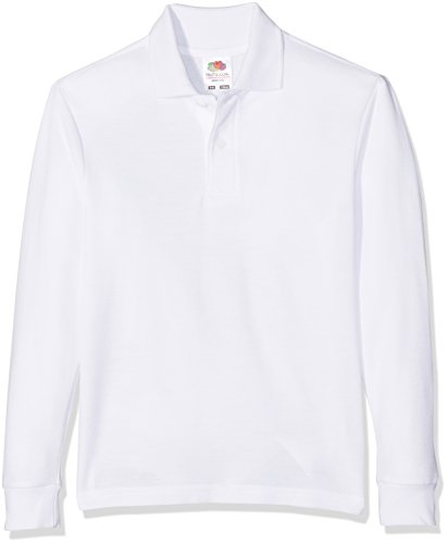 Fruit of the Loom Kid's Long Sleeved 65/35 Polo Shirt blanco