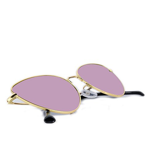 Alondra Kolt Cat Eye Vibes Metal Frame Sunglasses (Gold, Flash - Oval For Shaped Shades Face