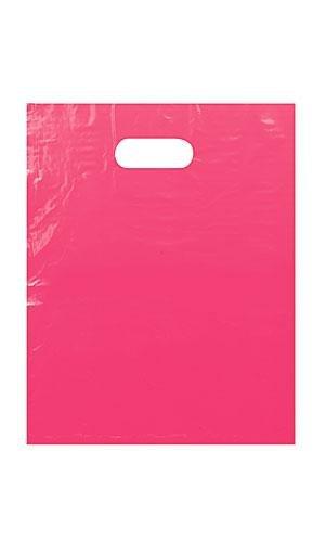 Count of 500 Large Pink Low Density Plastic Merchandise Bag 15'' x 18'' x 4''