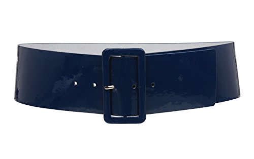Ladies High Waist Patent Leather Wide Fashion Square Belt, Navy Blue | L/XL - 40