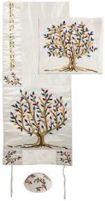 Colorful Yair Emanuel Raw Silk Tallit with Matching Bag and Kippa – Tree of Life