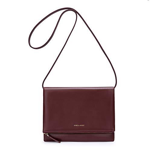 Soft Italian Leather Crossbody Shoulder Handbags For Women (Wine Red)