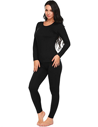 (Ekouaer Thermal Clothing Womens Long Underwear Top with Pants Set (Black, Small))