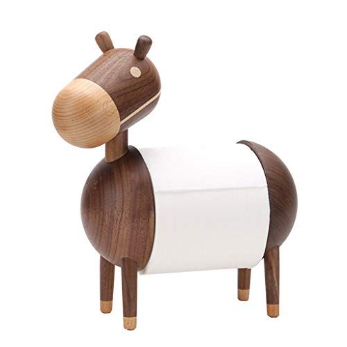 ❤️Ywoow❤️ Wooden Crepe Paper Towel Holder, Creative Home Solid Wood Kitchen Paper Towel Holder Toilet Paper Roll Holder Cartoon Small Donkey Wooden Crafts Ornaments (Coffee)