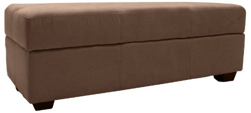 Epic Furnishings Microfiber Suede Upholstered Tufted Padded Hinged Storage Ottoman Bench, 48 by 19 by 18