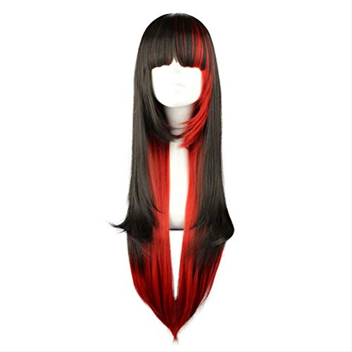 COSPLAZA Costume Wig Long Black mixed Red Witch Vampire Halloween Role Play Anime Show Lolita Maid Play Cosplay Wig with Bangs ()