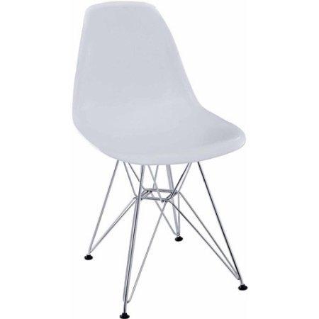 Modway Paris Modern Contemporary Flexible Comfortable Versatile Chromed Steel Base Plastic Non-marking Feet Dining Side Chair, White