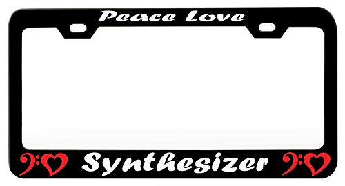 (YEX Abstract Peace Love Synthesizer Music and Instruments License Plate Frame Car Licence Plate Covers Auto Tag Holder 6
