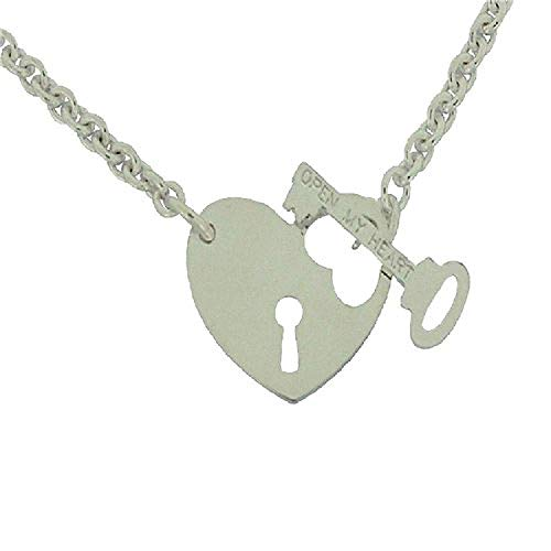 - The Olivia Collection TOC Sterling Silver Heart Lock & Key T-Bar Necklace 17